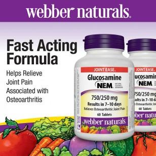 Webber naturals® Glucosamine with NEM® Natural Eggshell Membrane 750/250 mg (60 Tablets)