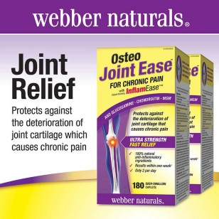 Webber Naturals Osteo Joint Ease For Chronic Pain with InflamEase Caplets, 180-count