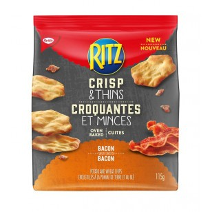 Ritz Crisp And Thins Bacon Potato And Wheat Oven Baked Chips 115g