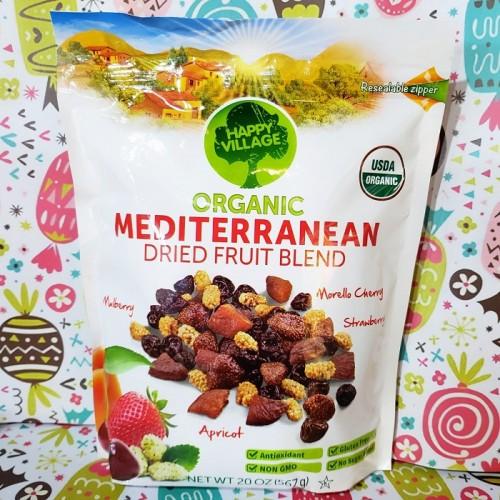 HAPPY VILLAGE ORGANIC MEDITERRANEAN DRIED FRUIT BLEND 567g